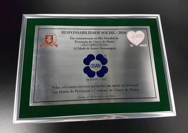 OSAN recebe homenagem do Instituto Neo Mama